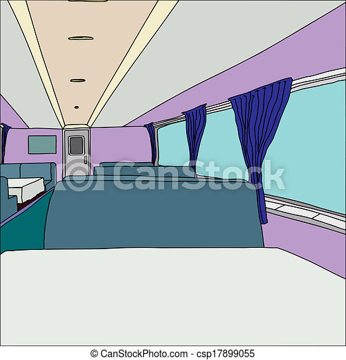 clipart vector of dining car with large windows interior of empty generic csp17899055. Black Bedroom Furniture Sets. Home Design Ideas