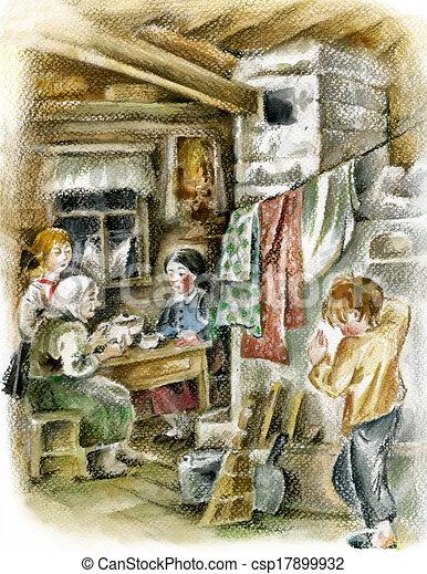 Dessins de intérieur, paysan, famille - famille, dans ...