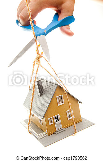 Hand with Scissors Cutting String Holding House - csp1790562