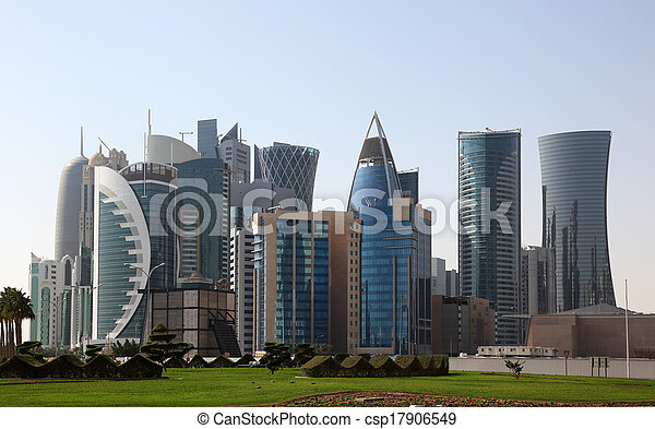 Skyscrapers downtown in Doha, Qatar, Middle East - csp17906549