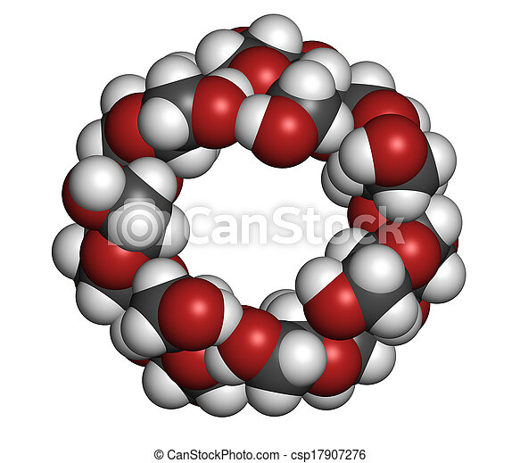 Beta-cyclodextrin molecule. Used in pharmaceuticals, food, deodo - csp17907276