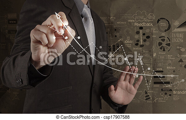 businessman working with new modern computer and hand drawn business strategy on crumpled paper background as concept - csp17907588