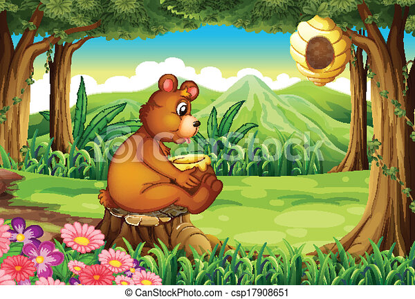 Clipart Vector of A bear at the forest near the beehive ...