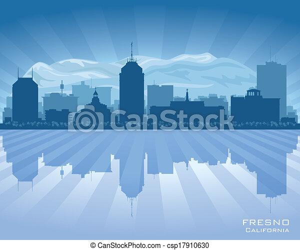 Fresno California city skyline vector silhouette  - csp17910630