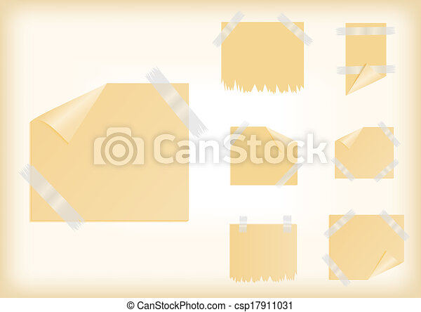Yellow stickers with scotch tape - csp17911031