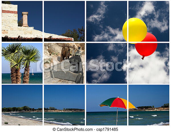Collage of beach pictures - csp1791485