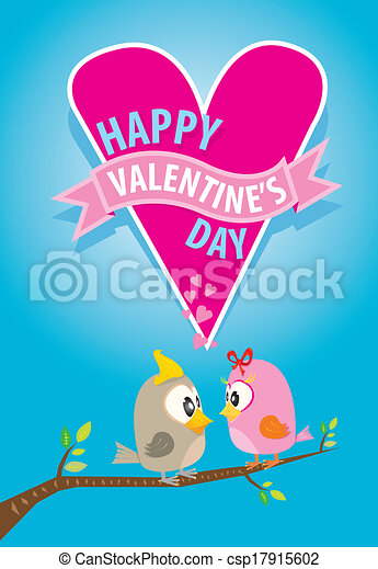 valentine day beautiful card with couple birds - csp17915602