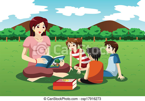 Vectors Illustration of Teacher reading book to kids - A vector ...