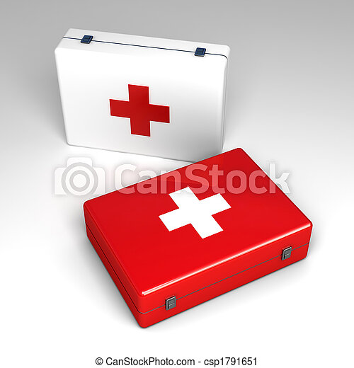 3d First aid kit isolated on white  - csp1791651