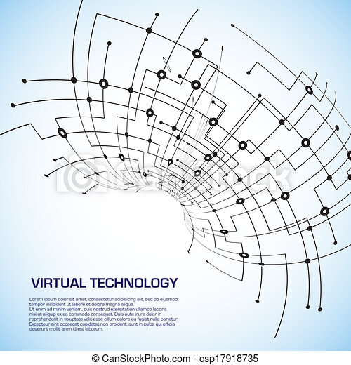 Virtual technology objects with space for your business message - csp17918735