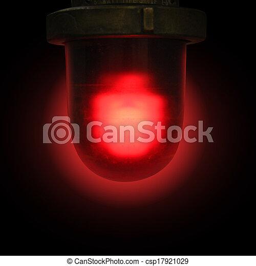 Red Emergency Siren on Black Background - csp17921029
