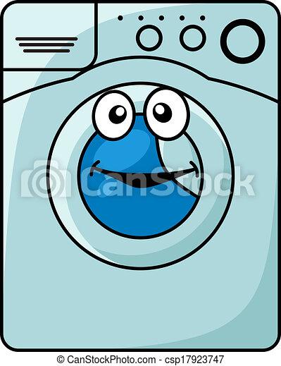 Vecteur eps de machine lavage dessin anim illustration sourire bleu csp17923747 - Logo lessive machine a laver ...