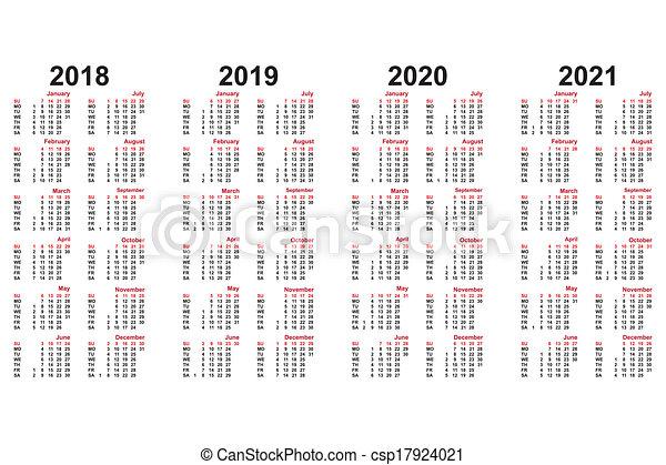 カレンダー, 2014, 2018, 年 ...