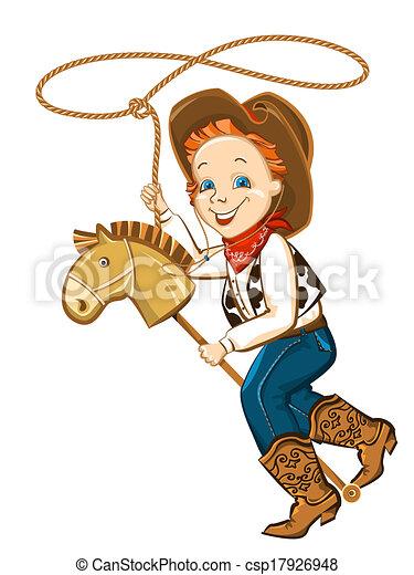Vecteur EPS de lasso, Cheval, jouet, enfant, cow-boy - cow-boy, enfant ...