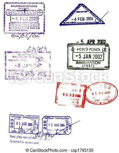asian passport stamps vectors - csp1793135