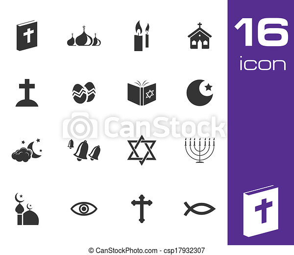 Vector black religion icons set - csp17932307