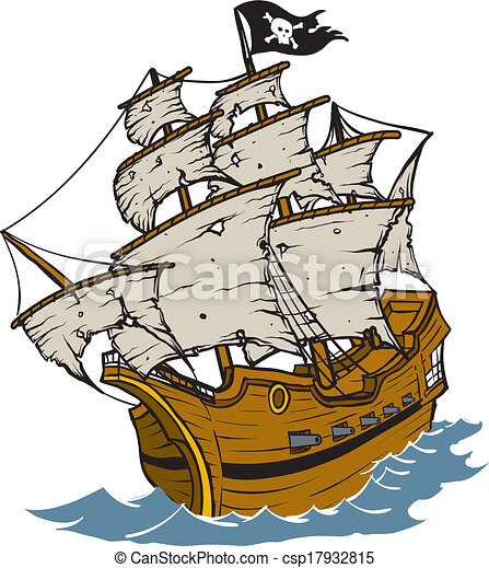 Vector Clip Art of Pirate Ship - Old weathered Pirate Ship Cartoon ...