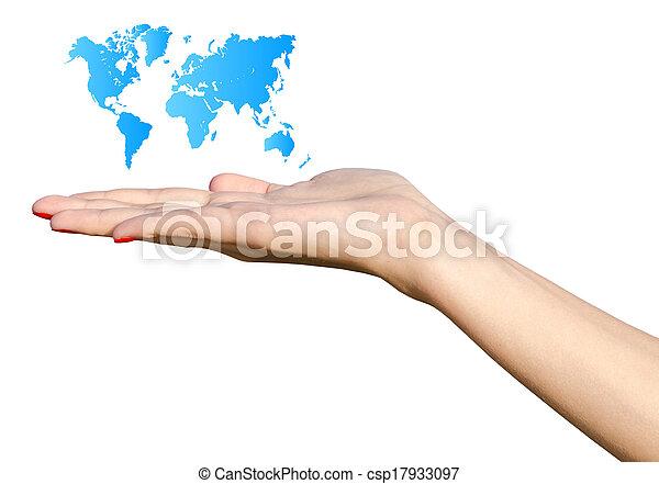 Girl Hand Holding Blue World Map - csp17933097