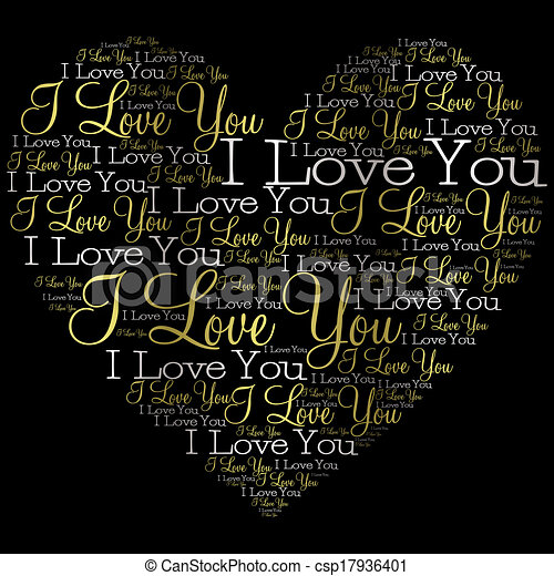 Heart made from words in vector format. - csp17936401