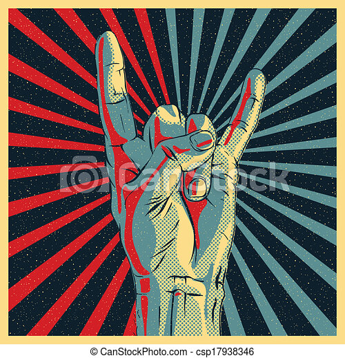 Vector - Hand in rock n roll sign - stock illustration, royalty free ...