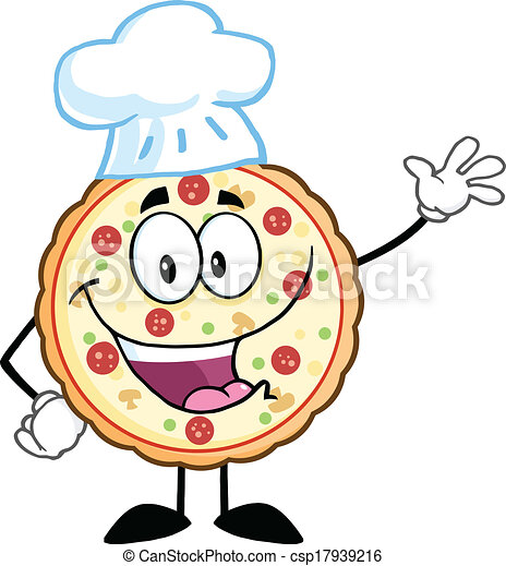 Pizza Chef Logo Pizza Chef Character Waving