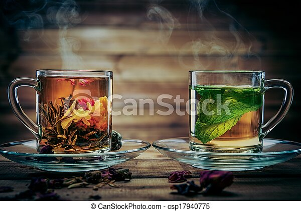 Two glass cups with tea
