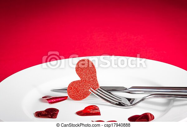 valentine day dinner on red background - csp17940888