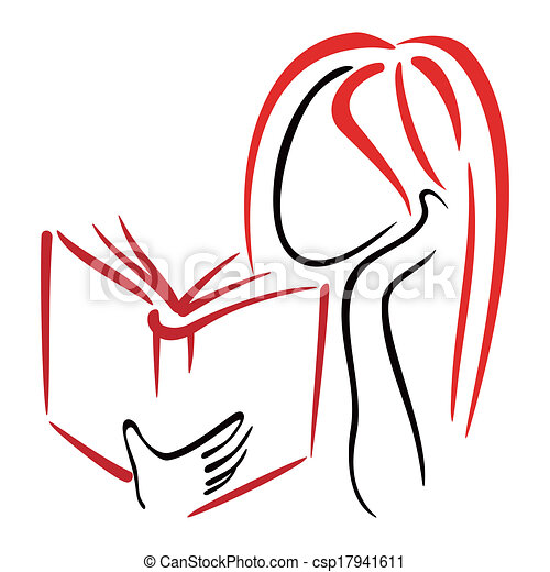 Clip Art of Library symbol - Illustration of women reading a book ...
