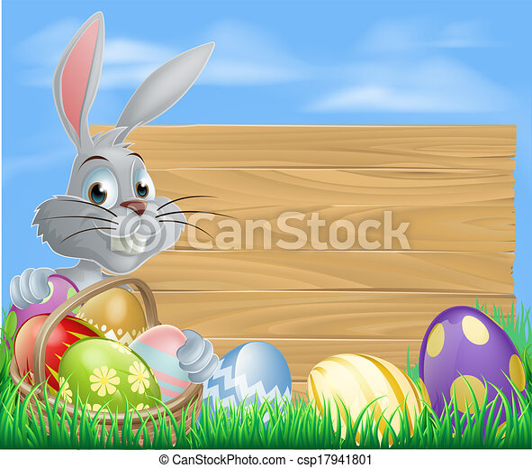 Rabbit with eggs basket and Easter  - csp17941801
