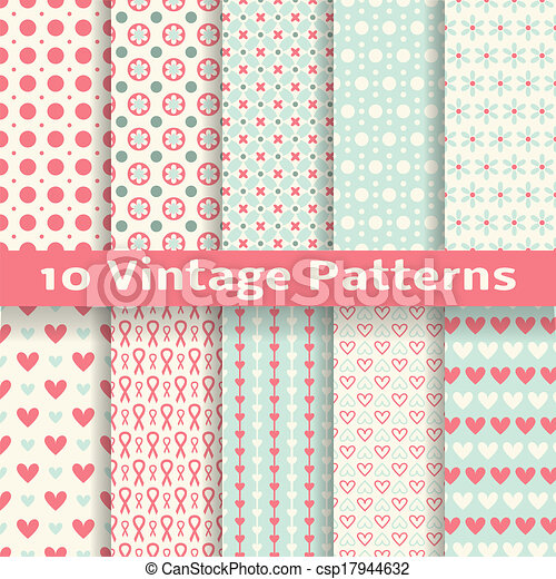 Vintage fashionable vector seamless patterns (tiling). - csp17944632