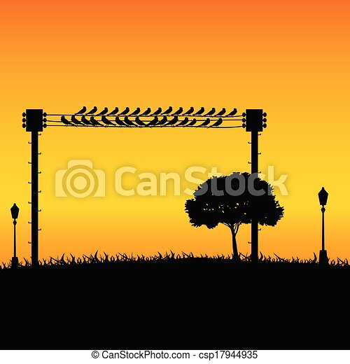 nature with sparrow and street lights color vector - csp17944935
