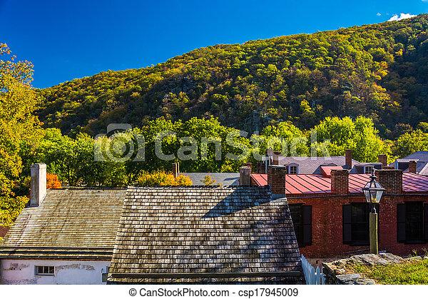 View of buildings in Harper's Ferry, West Virginia.  - csp17945009