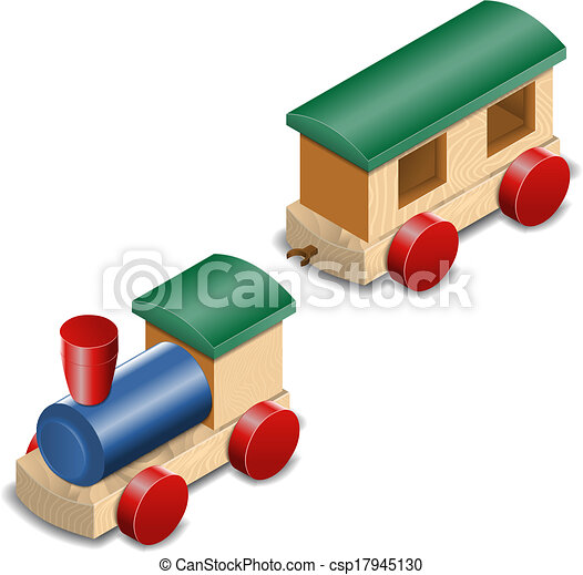 Vectors Of Wooden Toy Train Isolated On White Isometric