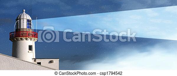 lighthouse night fog - csp1794542