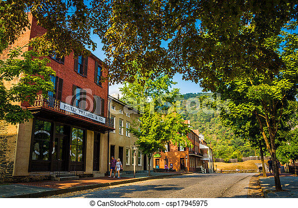 Historic buildings along Shenandoah Street in Harper's Ferry, West Virginia. - csp17945975