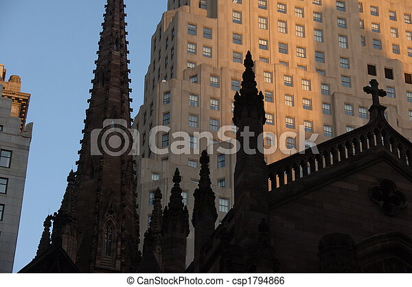 Steeples of an old church in New York City - csp1794866