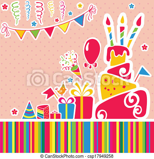 Vector happy birthday background. Greeting card - csp17949258