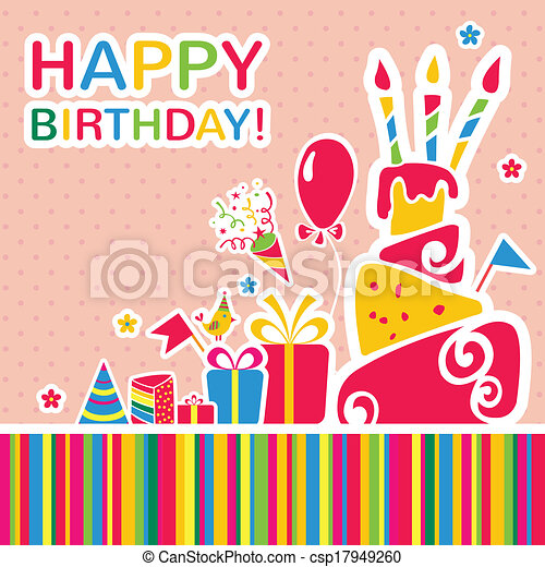 Vector happy birthday background. Greeting card - csp17949260
