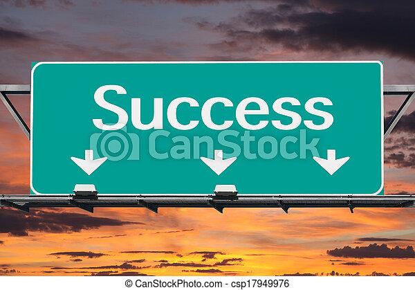 Freeway to Success Road Sign - csp17949976