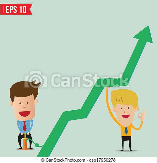 Cartoon Business man pump graph - Vector illustration - EPS10 - csp17950278