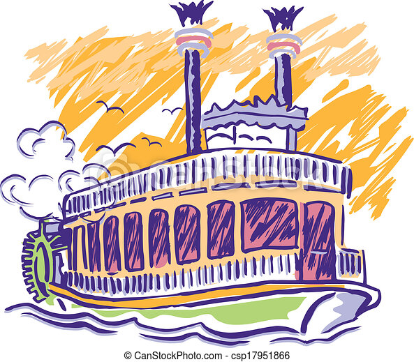 Clip Art Vector of Paddle Wheel Boat - Sketched, Vector, steam boat ...