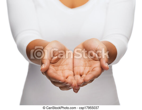 woman's cupped hands showing something - csp17955037