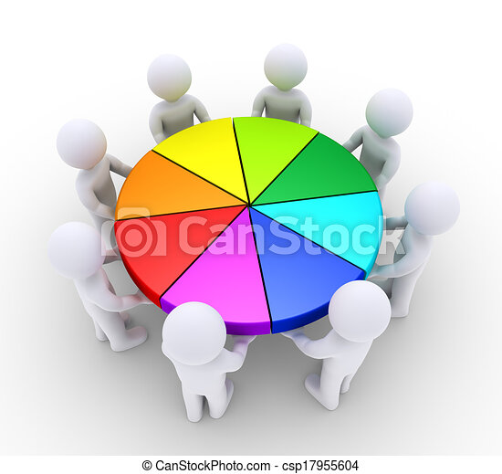 People holding pieces of pie chart - csp17955604