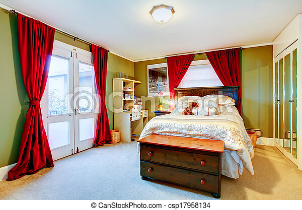 Green and red cozy young adult room - csp17958134