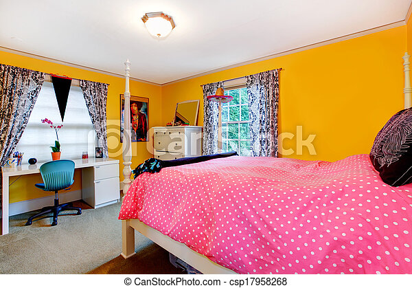 Bright yellow and pink young adult room - csp17958268
