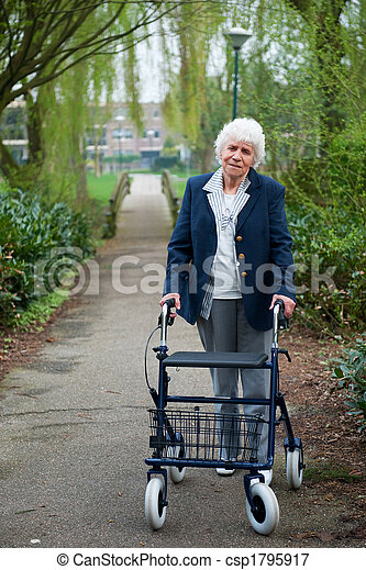 Elderly woman with walker - csp1795917