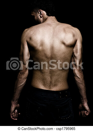 Artistic grunge image of man with muscular back - csp1795965