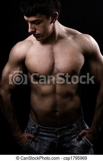 Fine art image of muscular sexy shirtless man - csp1795969