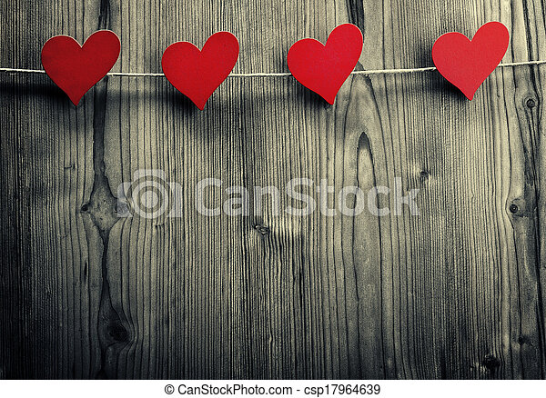 Heart-shaped clips are hanging on the rope, Valentine's Day, love wallpaper - csp17964639