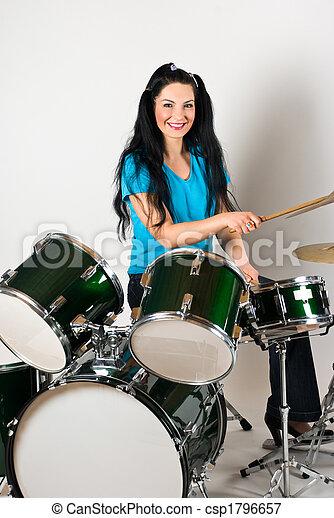 Smiling drummer - csp1796657
